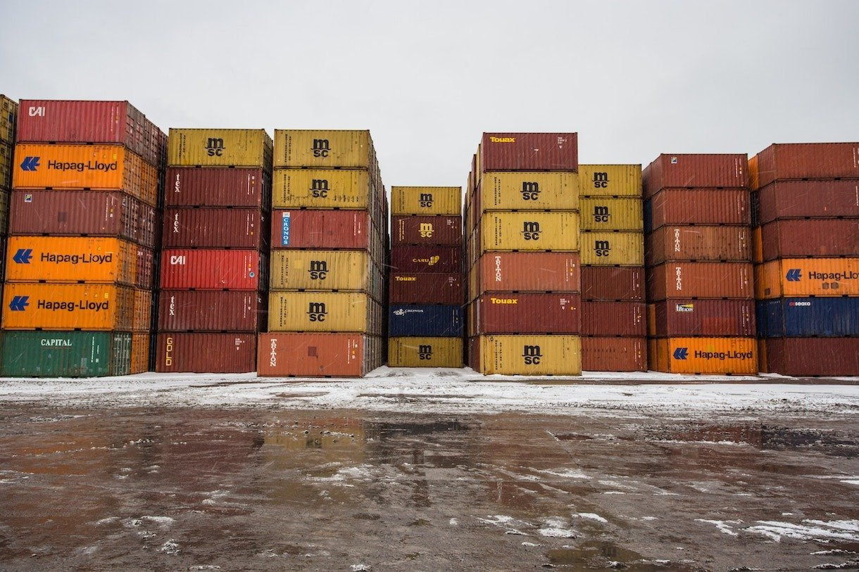 containers at a depot ready for survey