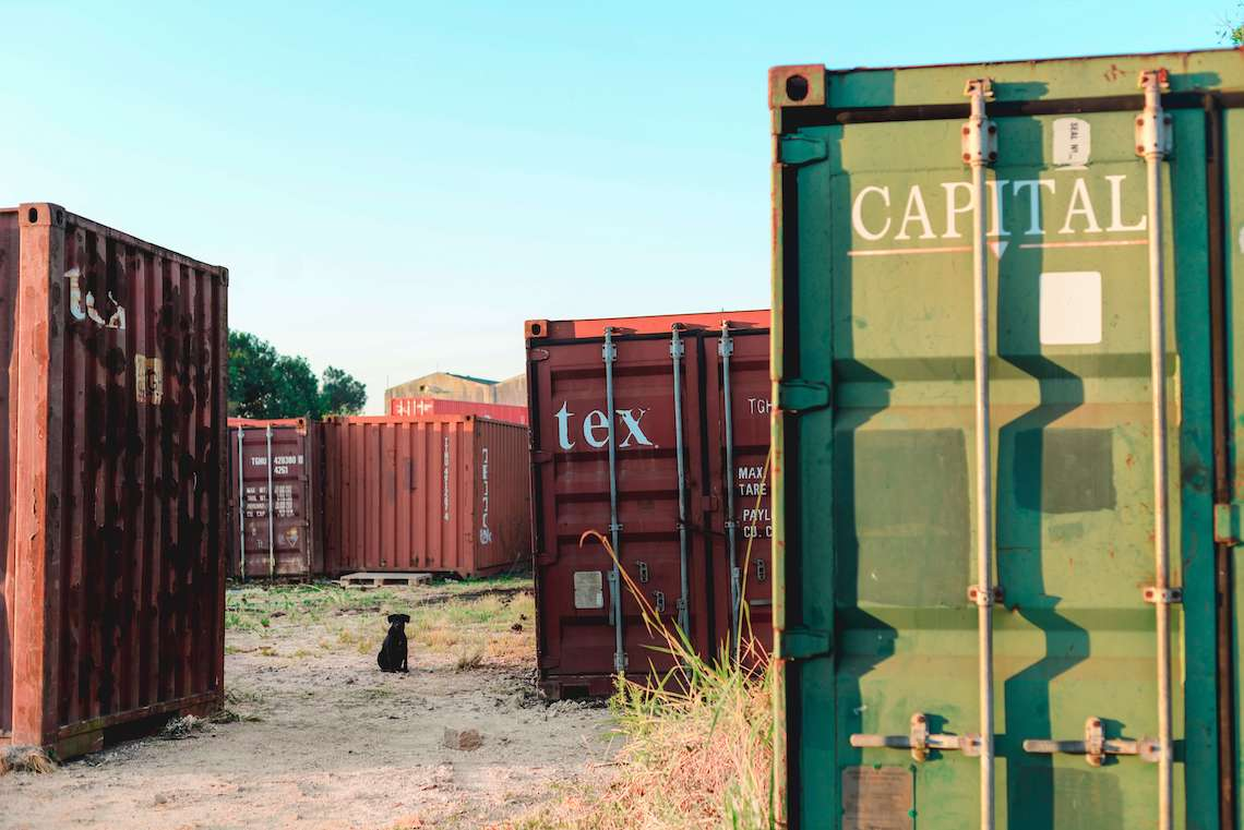 Markings on the back of a container