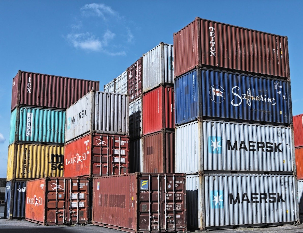 Shipping containers at a depot