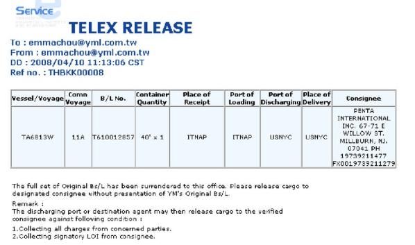 telex release document