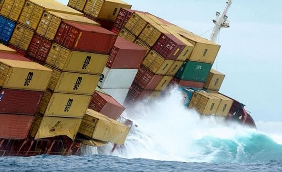 containers dropped in ocean