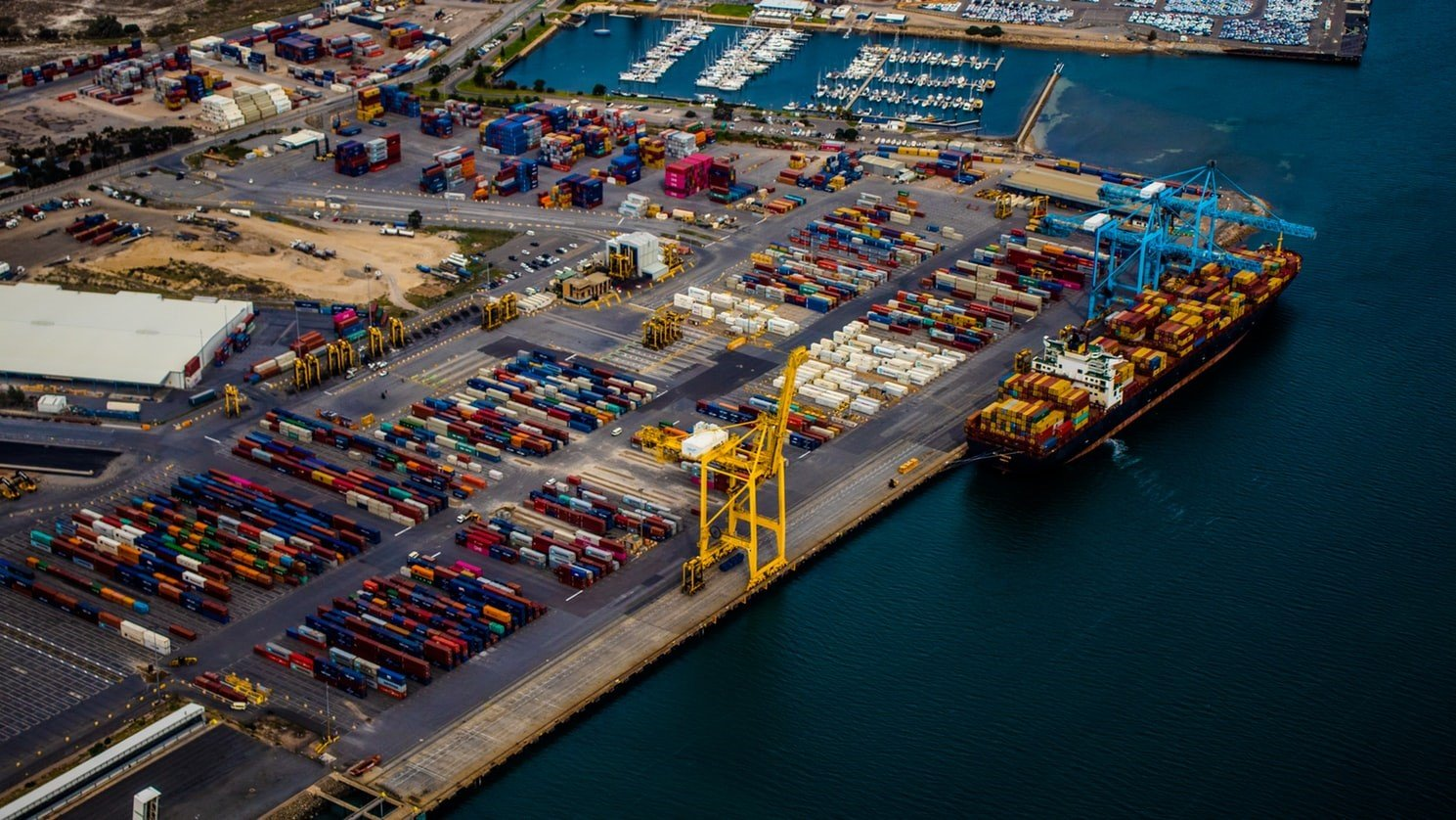 port congestion top view of container terminal