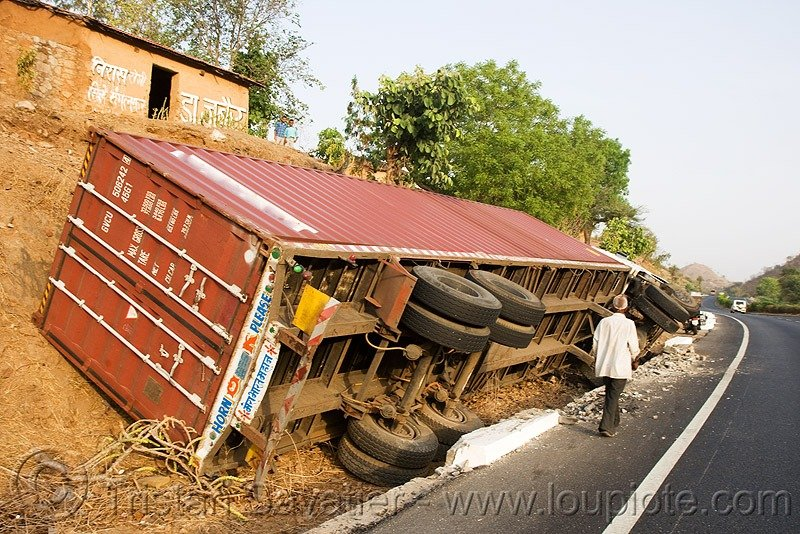 container truck toppled
