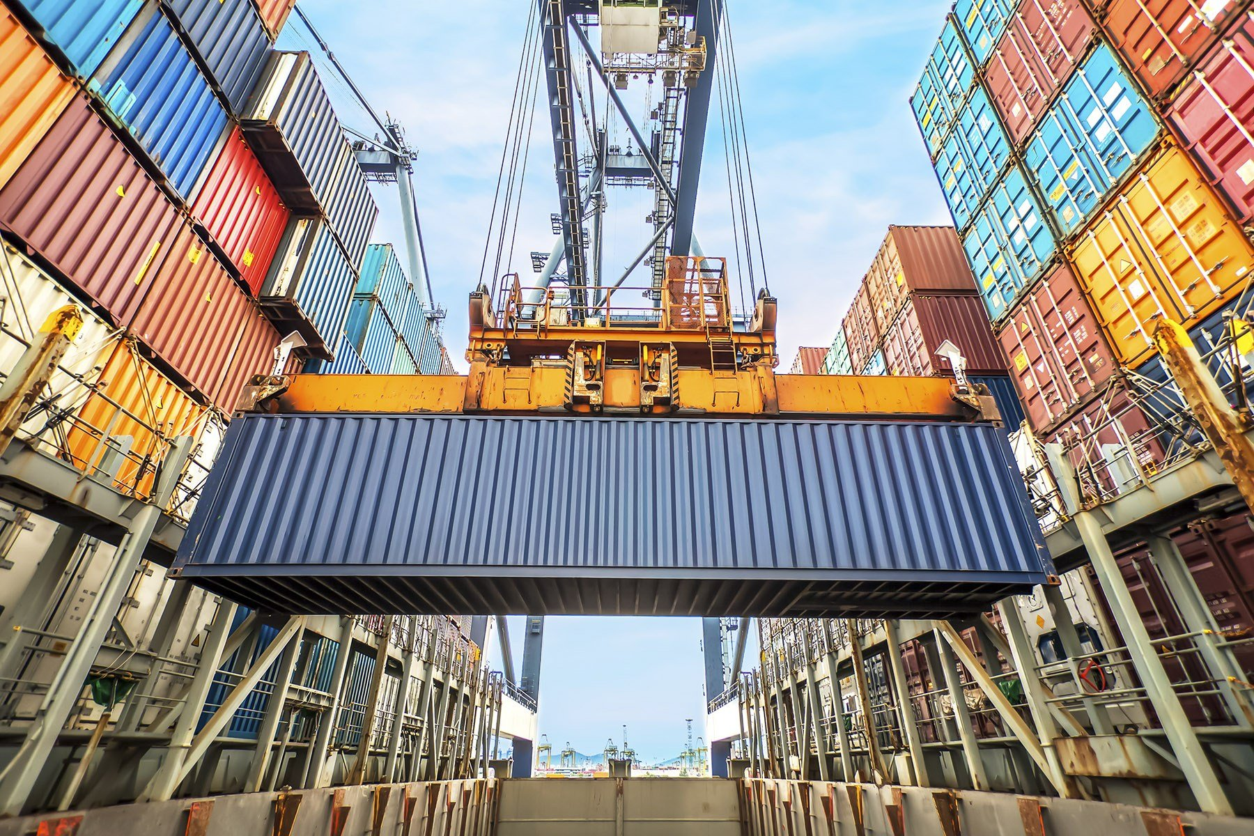 container lifted at depot