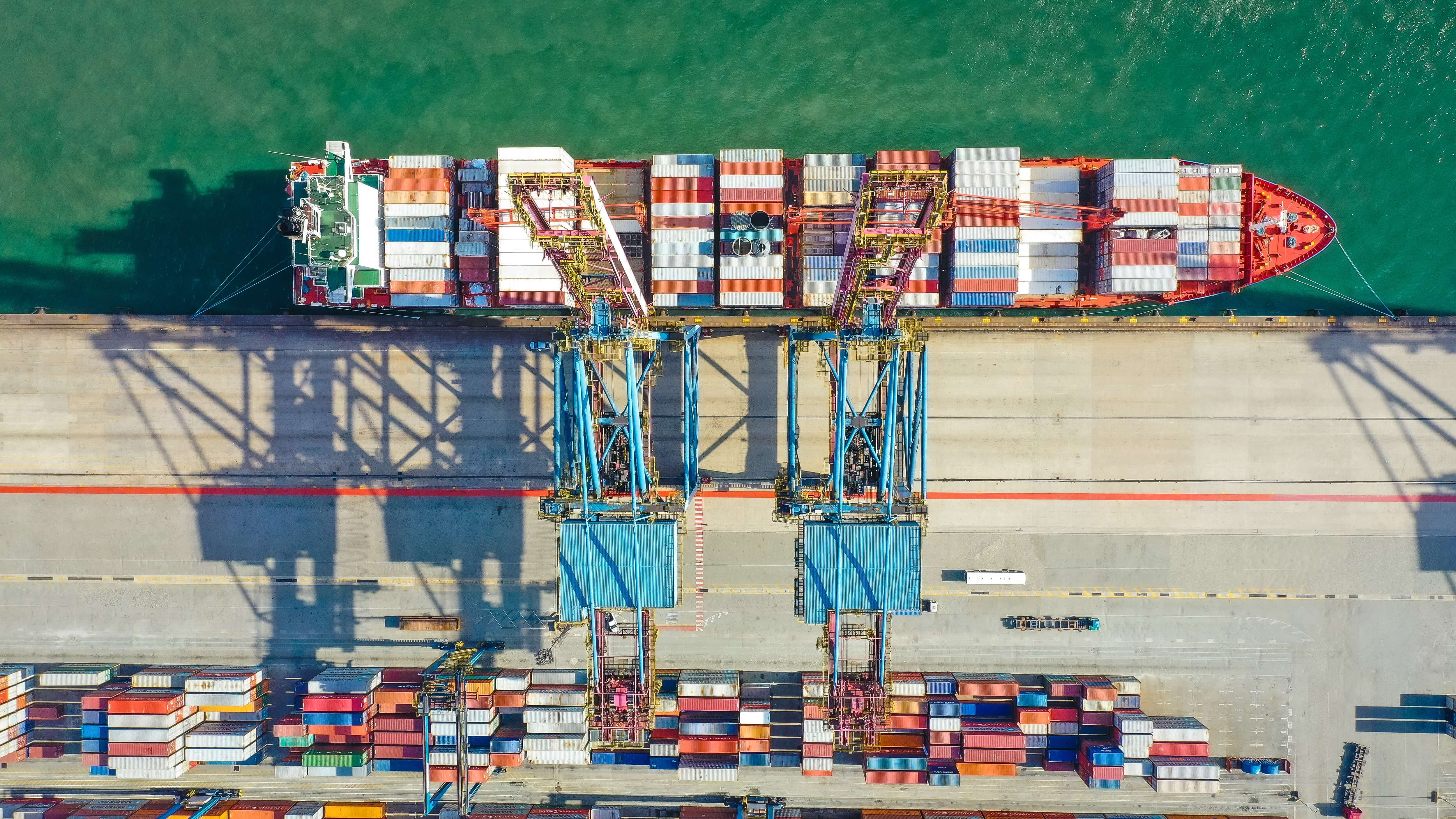container ship docked at sea