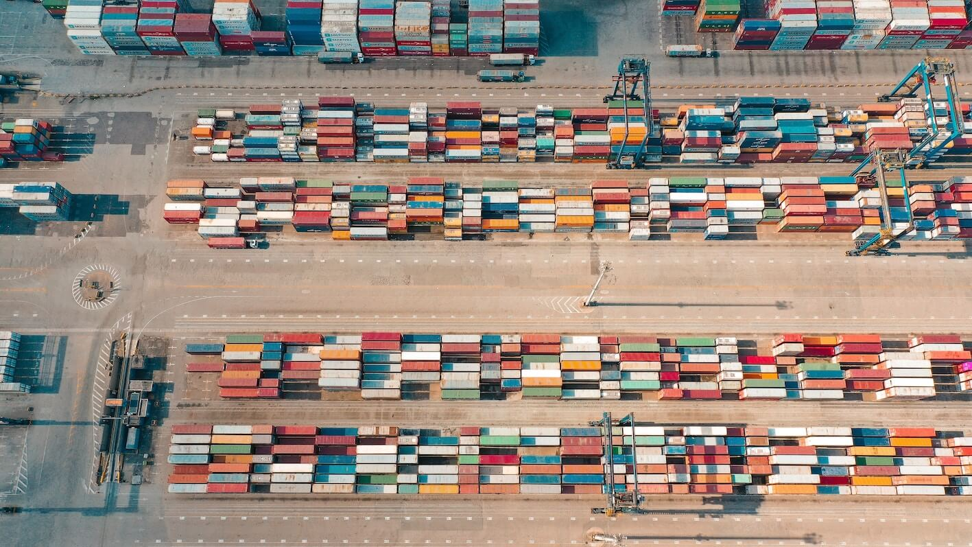 vintage bird's eye view of container terminal