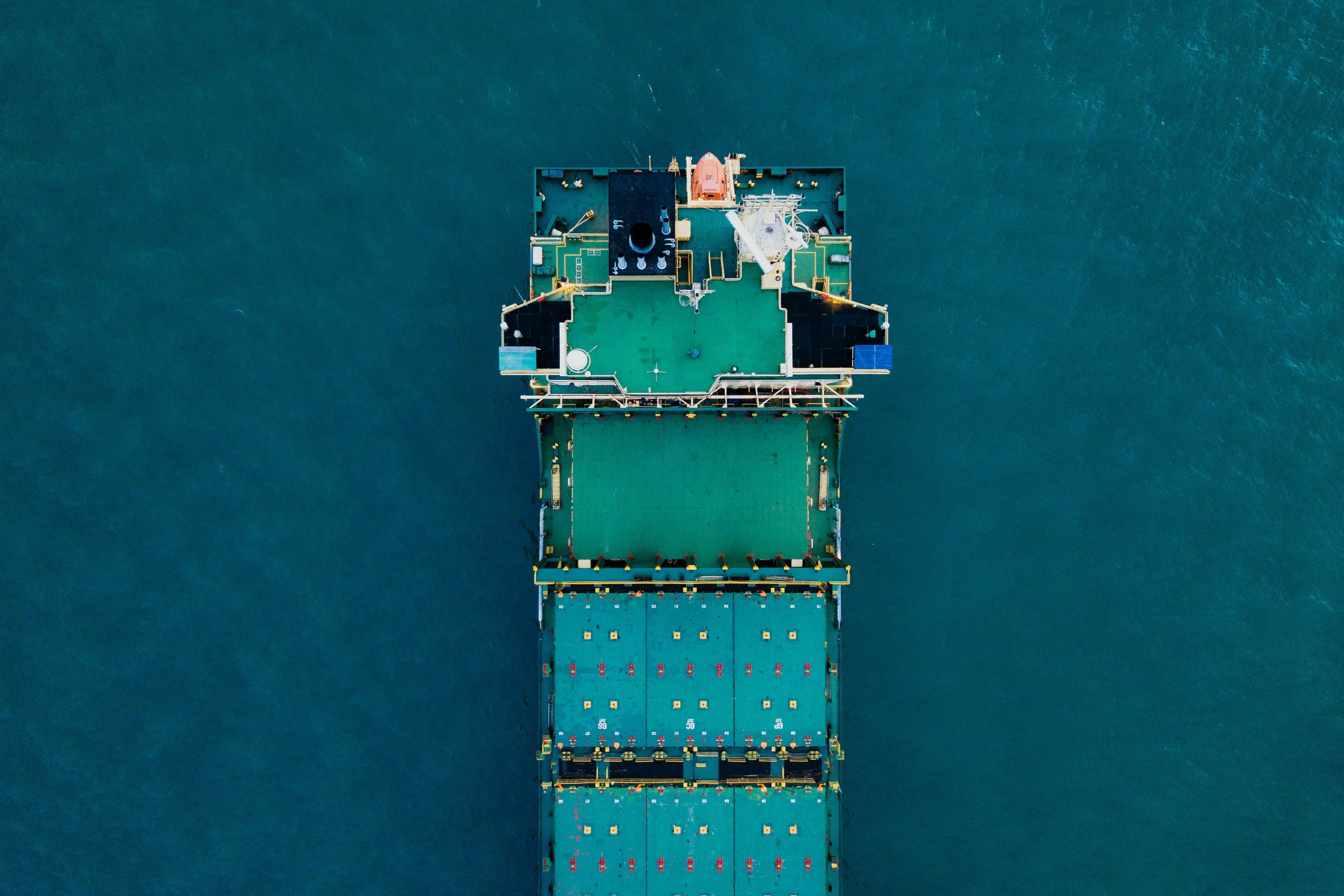 green ship at sea
