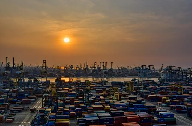 wide view of container terminal