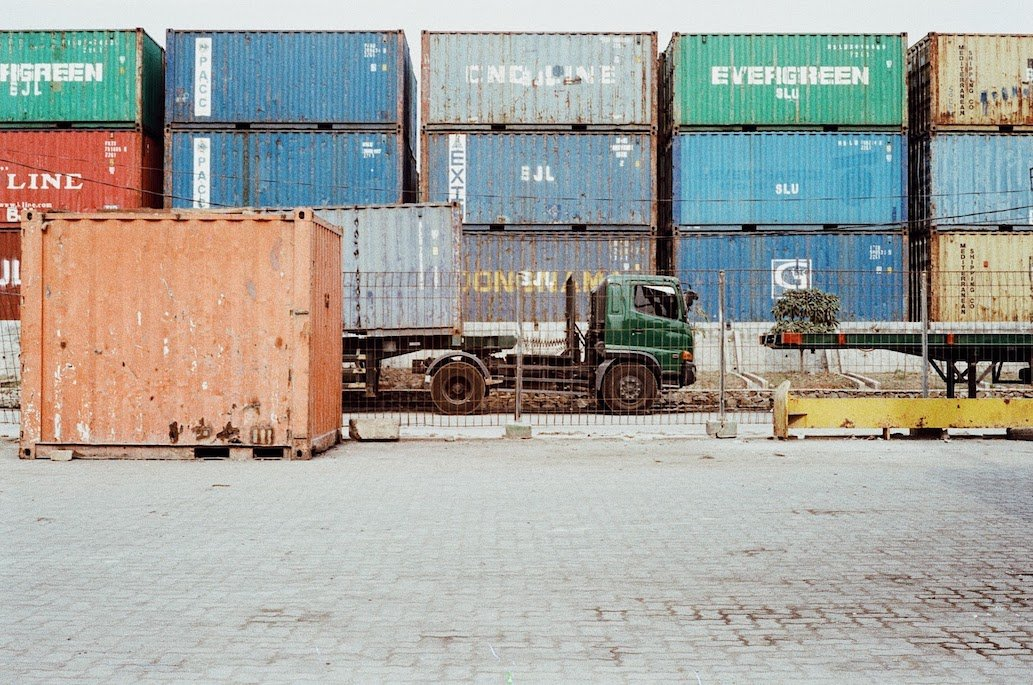 vintage picture of stacked containers