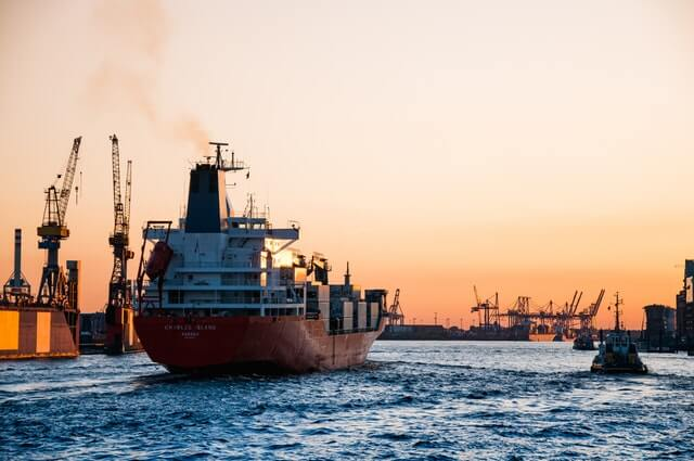 slow steaming ship arriving at a port