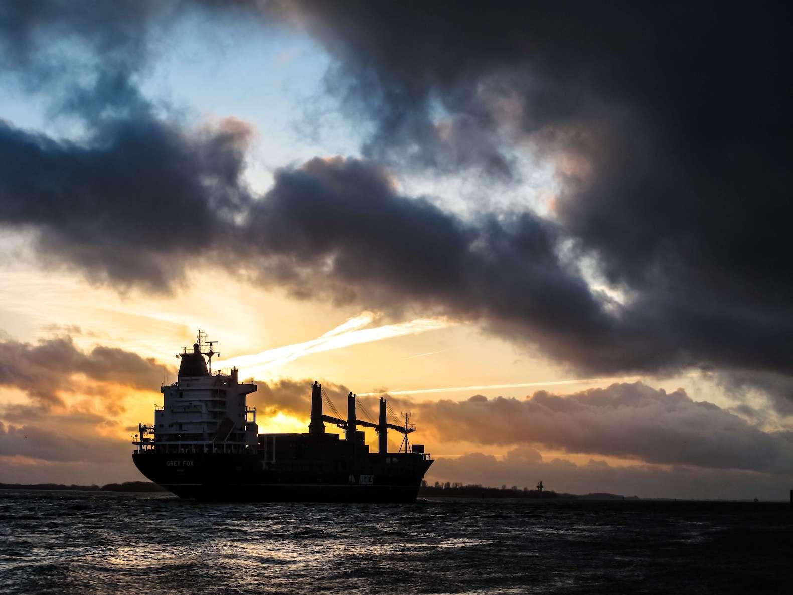 Slow steaming vessel at the ocean