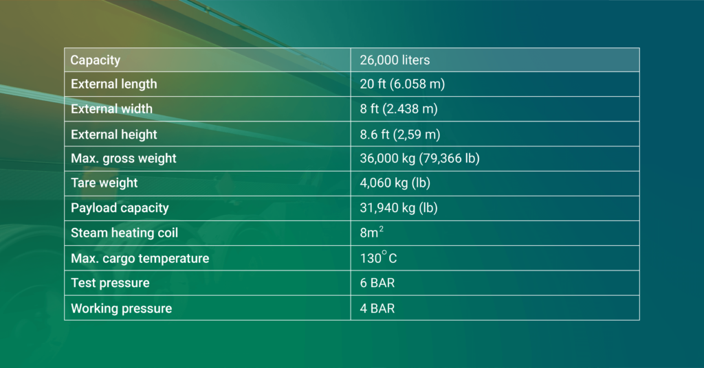 ISO tank specifications